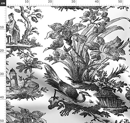 Toile De Jouy, Chinoiserie, Asiatisch, Klassisch, Schwarz Und Stoffe - Individuell Bedruckt von Spoonflower - Design von Peacoquettedesigns Gedruckt auf Seidenimitat Crêpe de Chine (Stoff Asiatische Toile)