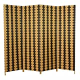 Homestyle4u 637, Paravent Raumteiler 4 teilig, Karo Streifen Muster, Weide Braun