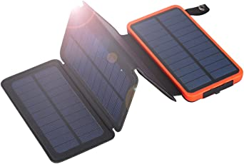 FLOUREON 10000mAh Portable Foldable Solar Panel Charger Power Bank Backup Battery with Dual USB LED Lighting for iPhone iPad Android Phone Emergency Camping Outdoors(Orange)