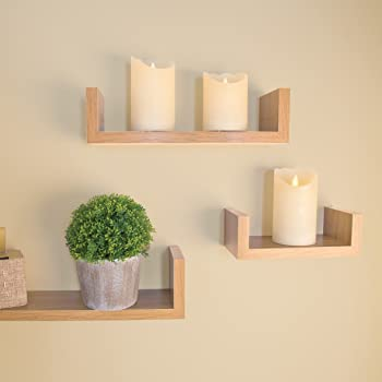 Fabulous Invero Set Of 3 Oak Effect U Shaped Floating Wooden Wall Mounted Display Decorative Shelves Ideal For All Offices Living Rooms Kitchens Hallways Download Free Architecture Designs Embacsunscenecom