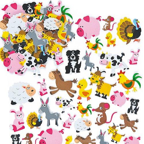 """Baker Ross Moosgummi-Aufkleber """"Tiere auf dem Bauernhof"""" für Kinder Karten und Bastelprojekten (96 Stück)"""