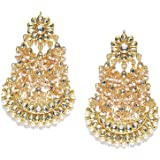 Abhaah Women's Traditional Gold Plated and Pearl Chand Bali Earrings, Gold