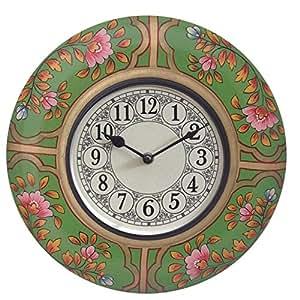 Prateek Retail Round Shape Premium High Quality Wooden Series Green Analog Wall Clock