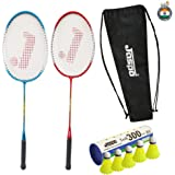 Jaspo GT 303 Intact Red/Blue Badminton Set(2 Badminton Racket and 5 Nylon Shuttle Cork,Carry Bag)