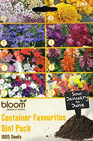 1805 Flower Seeds 8 in 1: Petunia/Alyssum/Busy Lizzie/Salvia/Snapdragons/Stocks/Lobelia/Container Favourites