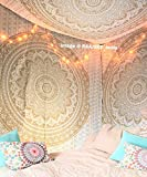 Top Selling Original Gold Mandala Ombre Tapestry Wall Hanging by Raajsee,Boho Bohemian Hippie Tapestries indian Dorm Decor Golden Twin Bedspread,Hippy Elephant Peacock Meditation Yoga Mat Rug 140*220c