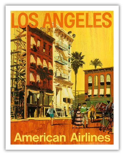 Pacifica Island Art Los Angeles - American Airlines - Hollywood Kalifornien Film-Set - Vintage Airline Travel Poster von V.K c.1960s - Fine Art Print 11