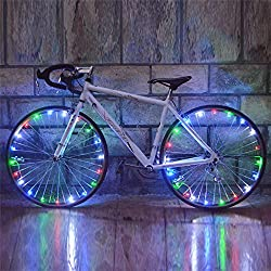 asdomo Bike Rad Speichen Licht LED Neon Flash Beleuchtung Lampe Wasserdicht für Bike Fahrrad Motorrad Rad Reifen Night Riding, bunt