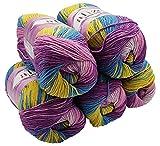 Alize Cotton gold 5 x 100g Strickwolle 55% Baumwolle, 500 Gramm Wolle mit Farbverlauf Mehrfarbig (Flieder Rosa Petrol Senf 6794)