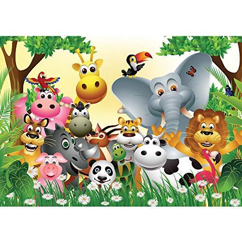 Fototapete 350x245 cm - ALLE TOPSELLER auf einen Blick ! Vlies PREMIUM PLUS - JUNGLE ANIMALS PARTY - Kinderzimmer Kindertapete Dschungel Zoo Tiere Giraffe Löwe Affe - no. 013
