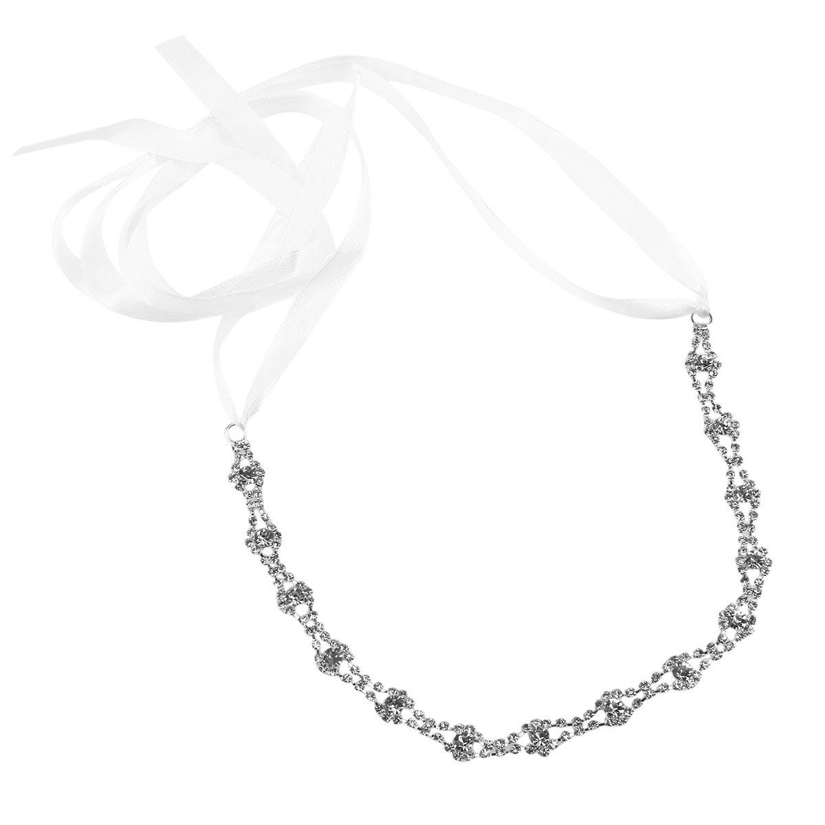 LEORX Le donne Hairband capelli Clip nuziale strass Bendable decorato rombo stile Hairband (argento)