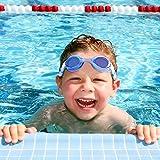Occhialini da Nuoto, HIHILL Occhialini da nuoto per bambini anti-UV e anti appannamento, cinturino regolabile, con tappi per orecchie, Set di nuoto per bambino,Blu