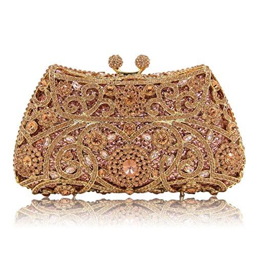 KAFEI Cena femmina Borsa serale incisa diamante banchetto di nozze party party sposa,oro viola champagne
