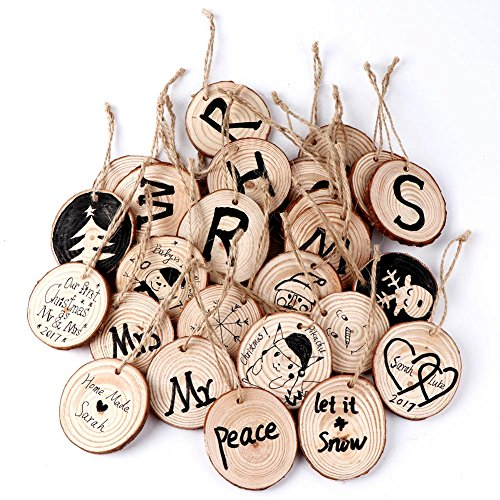 Mcree Halloween Valentine Wooden Round Baubles& Hemp Ropes, Cute Halloween Christmas Tree Valentine Wedding Decor, Ideal for Art Crafts DIY Gift (Round Shape with Grain- 10 Pcs)