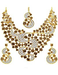 Sukkhi Splendid LCT Stone Gold Plated AD Necklace Set For Women