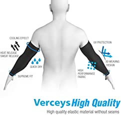 Verceys AquaX UV Protection and Cooling Ability Compression Sleeves for the Arm and Elbow for Outdoors (Black)