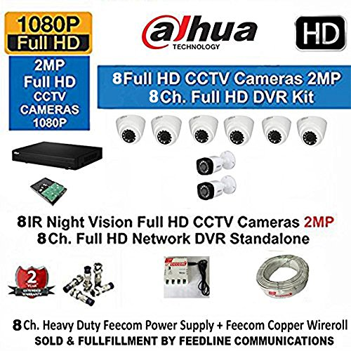 Dahua 8 Channel Hd- Dvr With 720P Realtime Preview + 6- Dahua Hd Ir 1Mp Dome Camera & 2 –BULLET 1-MP+ 3+1 Cctv Wire ROLL + 1-TB Hard Disk COMPLETE KIT  available at amazon for Rs.19950