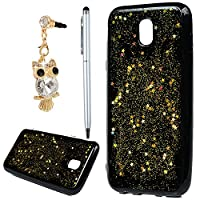 Galaxy J3 2017 Case, YOKIRIN Luxury Bling Glitter Sparkle Star Designer Case Ultra Slim Fit Lightweight Shockproof Scratch Resistant TPU Gel Soft Thin Silicone Back Cover for Samsung Galaxy J3, Gold