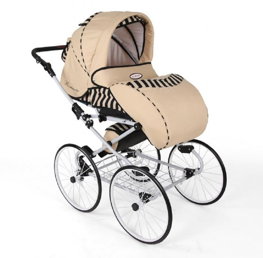 Hogartrend Romantic 17-Inch Wheel Baby Pram - 3 Piece Complete Set hogartrend A retro, classic and elegant style pram with all modern features. The kit includes:-chassis – large white 17-inch rubber wheels without air. - Carriage (canopy and cover)- Buggy (canopy and cover)- Pram (car seat with canopy and cover). 7