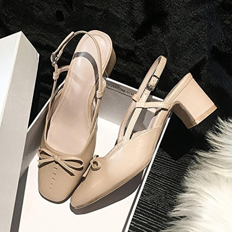 Xue Qiqi tacco spessa con una parola fibbia sandali farfalla dolce con una sola scarpa femminile, 35, albicocca | Eccellente valore  | Scolaro/Ragazze Scarpa