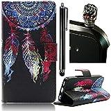 Sunroyal®Funda para Samsung Galaxy S3/S3 Neo GT-I9300 Funda Libro de PU Leather Cuero Suave - Carcasa Con [Flip Case Cover] [Cierre Magnético] [Función de Soporte] [Billetera con Tapa para Tarjetas] +1X Stylus Pen+ 1X Enchufe del Polvo,Piel Campanula Dreamcatcher Colgante de la Borla del Color de Pintura Retículo