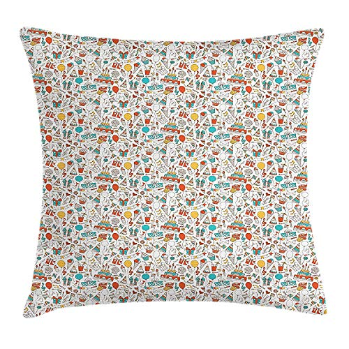 ZTLKFL Birthday Throw Pillow Cushion Cover, Boxes Garlands Music Notes Party Blowouts Cakes Candies Pie Party Hats, Decorative Square Accent Pillow Case, 18 X 18 inches, Aqua Orange Mustard Square Pie Iron