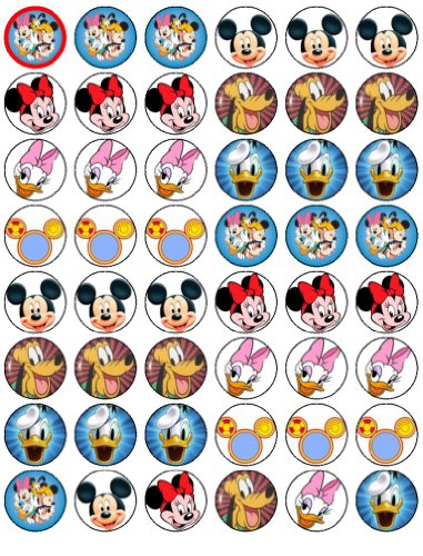 Cupcake Topper Mickey Mouse and Friends, 48 Stück