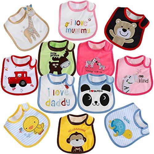 Lictin 12 pcs baberos de bebé para niños y niñas Baberos impermeables...