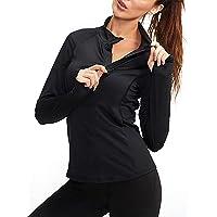Womens Running Tops Gym Long Sleeve T-Shirts Zip Up Lightweight Workout Fitness Shirts Yoga Tee Top