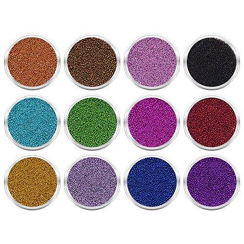 12 Döschen Mini-Perlen Micro-Perlen Minibeads in schönen intensiven Farben