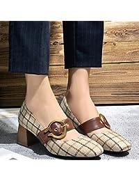 SHOEES Zapatos Sueltos de Primavera, Zapatos Mary Jane Bajos con Tacones Altos, Zapatos Abuelita con Hebilla de...