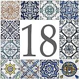 Azul'Decor35 Hausnummer Steinfliesen – 15x15x0,5 cm - Wählen Sie Ihre Nummer!