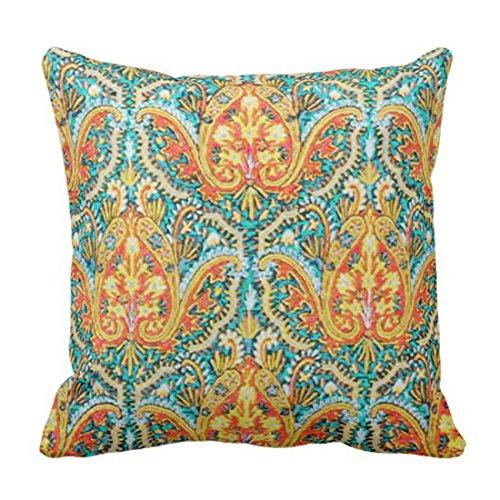 kko Marokkanisches Paisley in Aqua Blau und Orange Traditionelles Dekoratives Kissen Wohnkultur Quadratisches Kissen ()