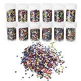 ROSENICE Konfetti mit Sternen 12 Flaschen DIY Pailletten Sternenkonfetti Glitzer Deko für Kinder Nagelkunst und Handwerk