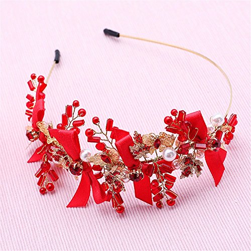 MultiKing tocado de novia Tocado nupcial flor flor artificial vestido de novia coreana forma Sen accesorios casados cabeza roja diadema flor