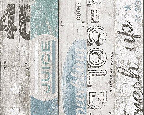 A.S. Création Papiertapete Boys and Girls Ökotapete Tapete in Vintage Holz Optik 10,05 m x 0,53 m beige blau grau Made in Germany 959503 95950-3