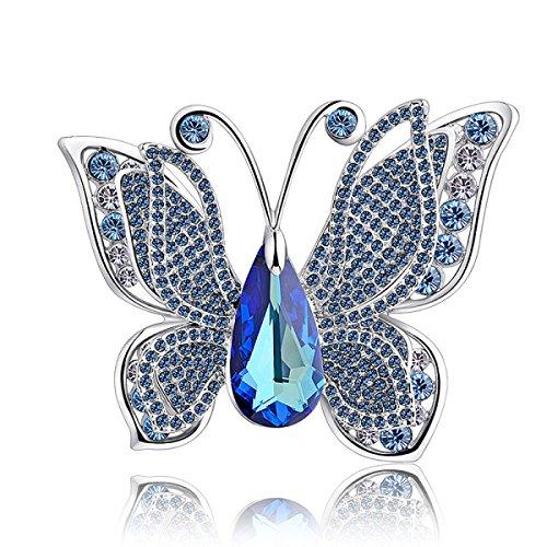 Perni donna di alta qualità con spille in cristallo swarovski spilla moda amici regali ornamenti gioielli squisiti e glamour,blue-onesize