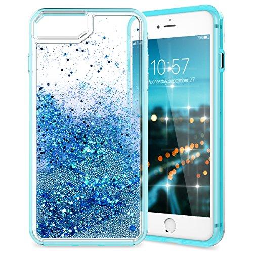 VemMore Kompatibel für iPhone 6 Plus/6S Plus/7 Plus/8 Plus Hülle Handyhülle Schutzhülle Glitzer Bling Flüssig Liquid Transparent Clear Case [Silikon TPU + PC] Dünn Bumper Protective Cover - Hellblau