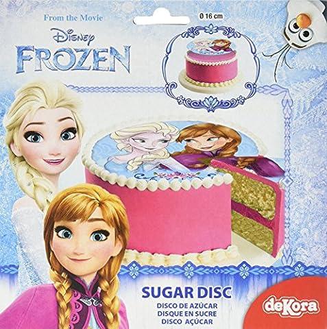 Reine des Neiges Disque en Sucre 16 cm Reine des Neiges sans Gluten sans Colorants Azoïques 15 g