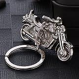 MAJGLGE Moda Hombres Metal 3D Motocicleta Colgante Coche Llavero Soporte Llavero Accesorio – Plata
