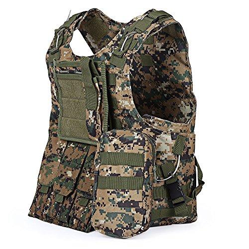 Taktische Einsatzweste,Mimicool Amphibious Taktische Weste Military Molle Weste Kampf Sturm Teller Camouflage Carrier Weste (jungle camouflage)