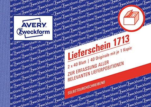 Avery Zweckform 1713 Lieferschein speziell für Österreich (A6 quer, 2x40 Blatt) weiß/ gelb