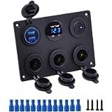 Thlevel 6 in 1 Car Charger Switch Panel, 12V Dual USB Power Outlet Socket Blue LED Voltmeter Illuminated Toggle Rocker…