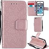 Ooboom® iPhone 5SE Hülle Sonnenblume Muster Flip PU Leder Schutzhülle Handy Tasche Case Cover Stand mit Kartenfach für iPhone 5SE - Rose Gold