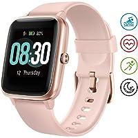 UMIDIGI Smartwatch Fitness Tracker Uwatch3, Armbanduhr Sportuhr Smart Watch für Damen Herren Kinder mit Herzfrequenz Schlaftracker 5 ATM Wasserdicht Schrittzähler Kompatibel mit Android IOS, Rosa Gold