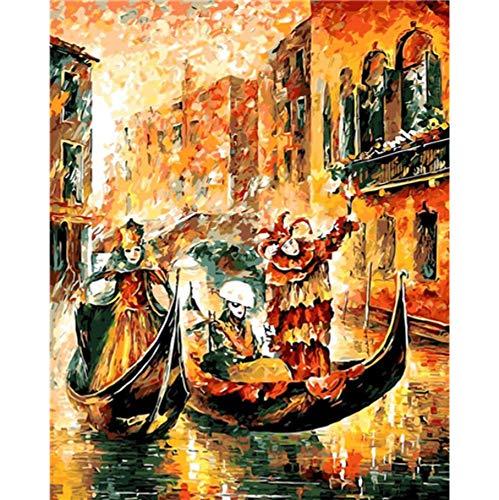 YKCKSD DIY Malen Nach Zahlen Halloween Ölfarbe Bilder Nach Zahlen Raumdekoration Karneval Feiern Zeichnen Nach Zahlen Rahmenlos 40X50CM