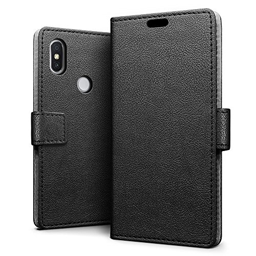 SLEO Hülle für Xiaomi Redmi S2 Hülle,PU lederhülle [Vollständigen Schutz] [Kreditkartenfach] Flip Brieftasche Schutzhülle im Bookstyle für Xiaomi Redmi S2- Schwarz