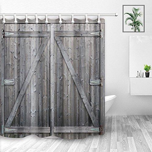 Y&M HOME Farm House Decor, rustikal Grau Barn Holz Tür, Polyester-Schimmelresistent-Wasserdicht Vorhang für die Dusche, Badezimmer Zubehör, Vorhänge Dusche, Haken Enthalten, 177,8x 177,8cm