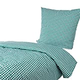 Hans-Textil-Shop Bettwäsche 135x200 80x80 cm Karo 1x1 cm Grün Baumwolle