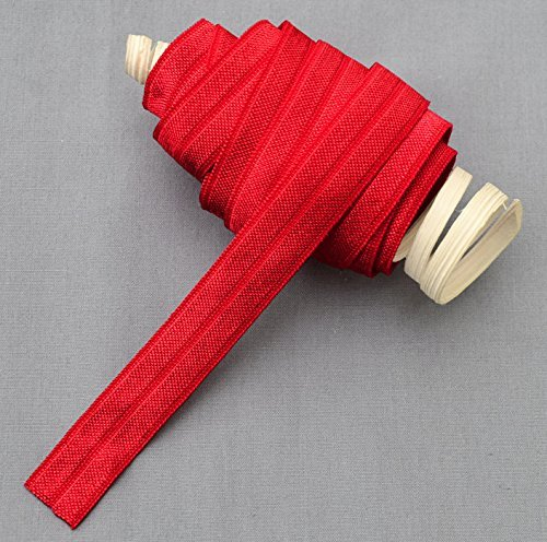 10 Yards Red 5/8 Fold Over Elastic Shinny Foldover Elastic Cord Elastic Headband Elastic Lace FOE Hair Bow Tie DIY Supply EL011 by Your Perfect Gifts